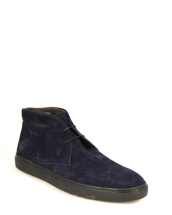 Tod's Mens Suede Leather Ankle Boots In Navy - ACCESSX