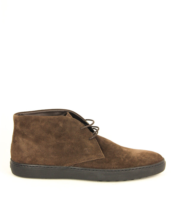 Tod's Mens Suede Ankle Boots in Dark Brown - ACCESSX