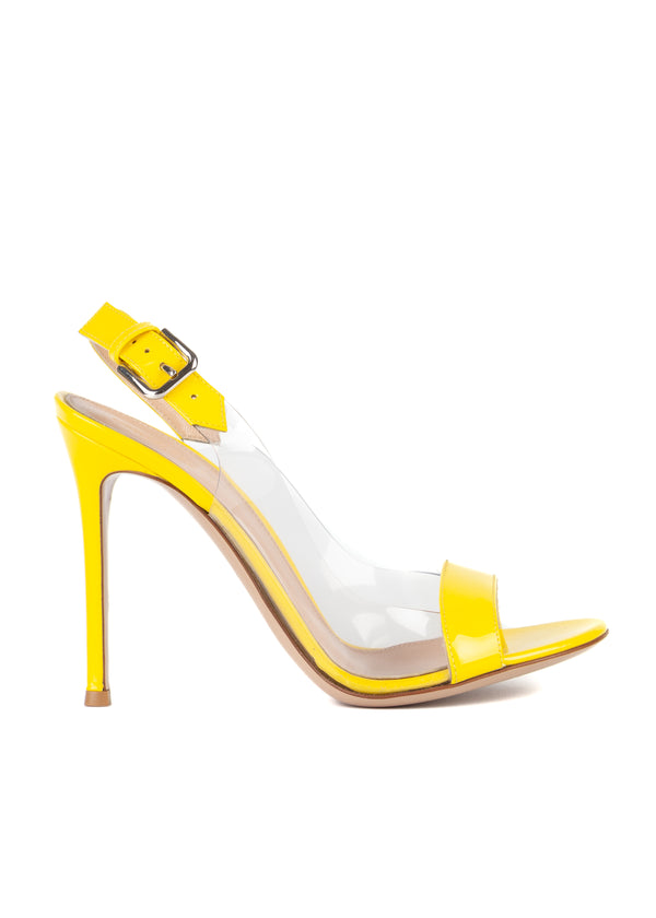 Gianvito Rossi 105 Clear-Sided Yellow Slingback Sandals - Tribeca Fashion House
