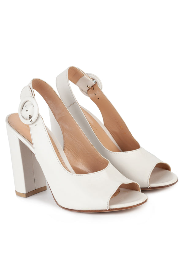 Gianvito Rossi Womens 105 Ivory Leather Slingback Pumps - Tribeca Fashion House