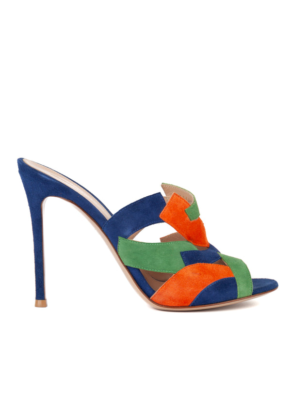 Gianvito Rossi 105 Multicolored Color Block Suede Mules - Tribeca Fashion House