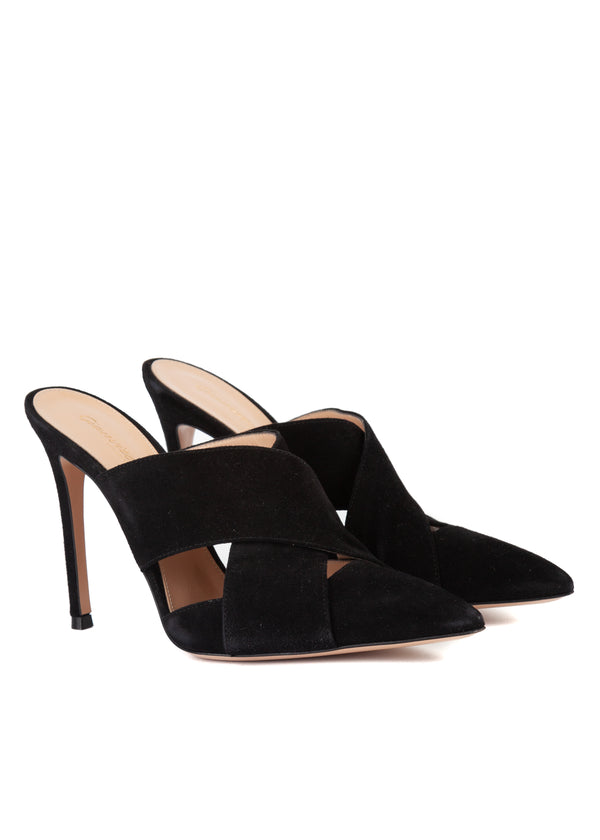 Gianvito Rossi 105 Black Suede Criss Cross Pointed Mules - Tribeca Fashion House