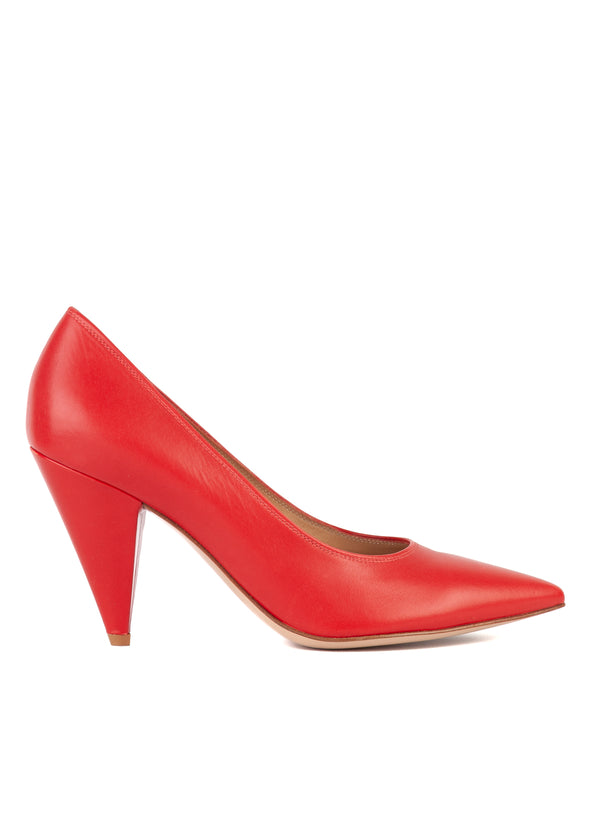 Gianvito Rossi Womens Red Leather Sculptured Heel Pumps - Tribeca Fashion House