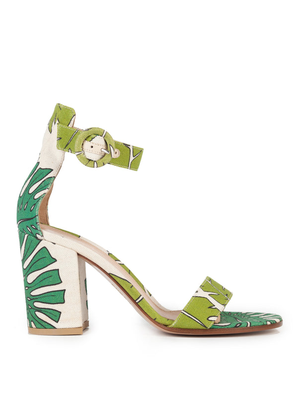 Gianvito Rossi 85 Palm Print Canvas Chunky Heeled Sandals - Tribeca Fashion House