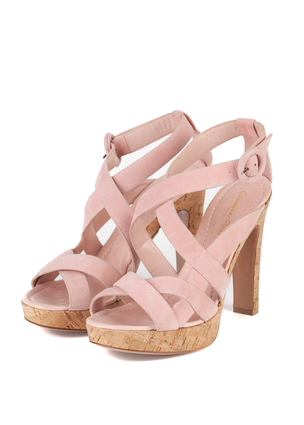 Gianvito Rossi 120 Pink Suede Strappy Platform Sandals - Tribeca Fashion House
