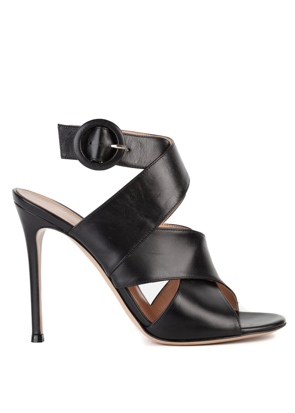 Gianvito Rossi 105 Black Leather Criss Cross Sandal - Tribeca Fashion House