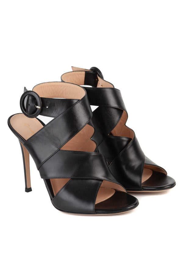 Gianvito Rossi 105 Black Leather Criss Cross Sandal - ACCESSX