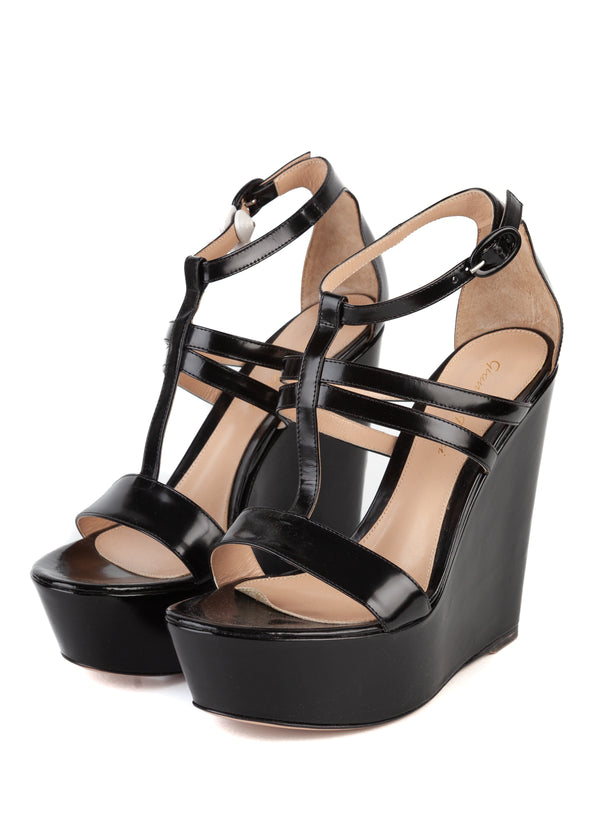 Gianvito Rossi Black Patent Leather Strappy Wedge Sandals - Tribeca Fashion House