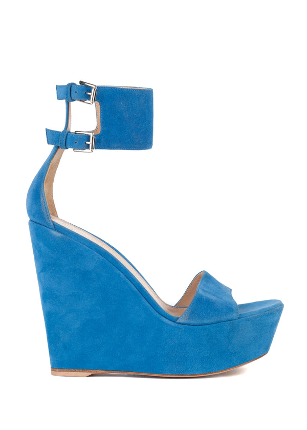 Gianvito Rossi Womens Blue Suede Ankle Wrap Wedge Sandals - Tribeca Fashion House