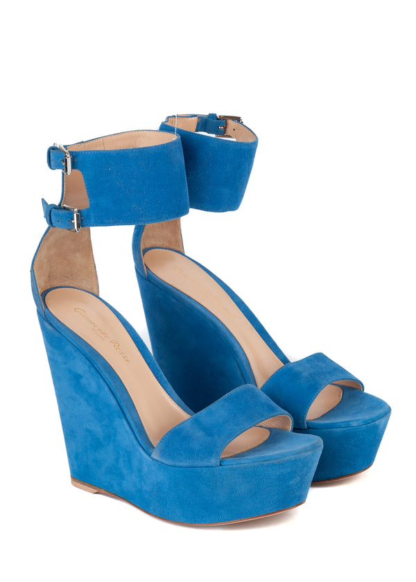 Gianvito Rossi Womens Blue Suede Ankle Wrap Wedge Sandals - ACCESSX