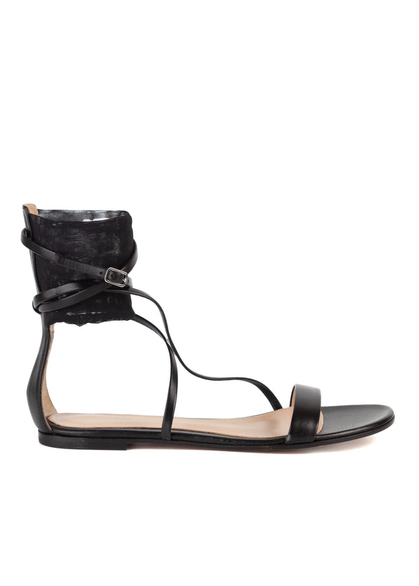 Gianvito Rossi Black Leather Strappy Mesh Flat Sandals - Tribeca Fashion House