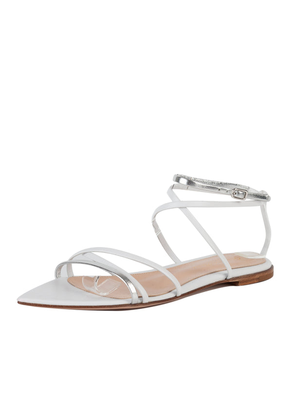 Gianvito Rossi Womens White Leather Strappy Flat Sandals - Tribeca Fashion House