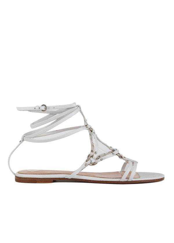 Gianvito Rossi White Leather Strappy Accented Flat Sandals - Tribeca Fashion House