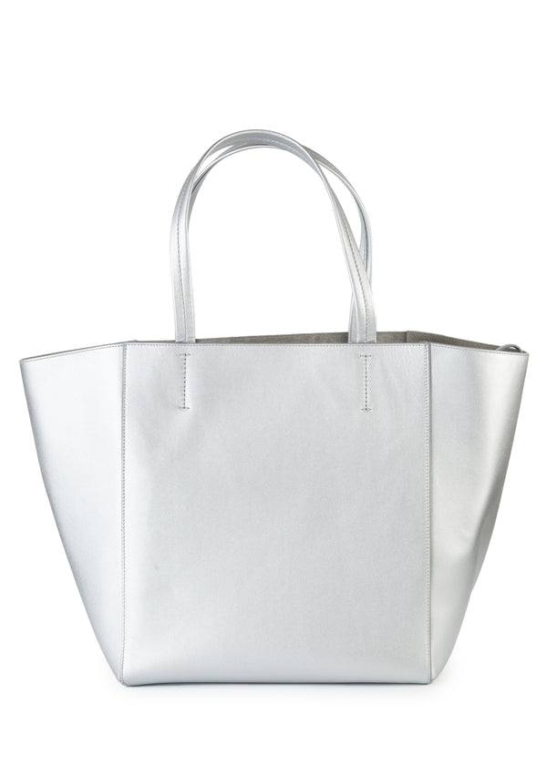 Celine Womens Metallic Silver Small Vertical Cabas Tote Bag - ACCESSX
