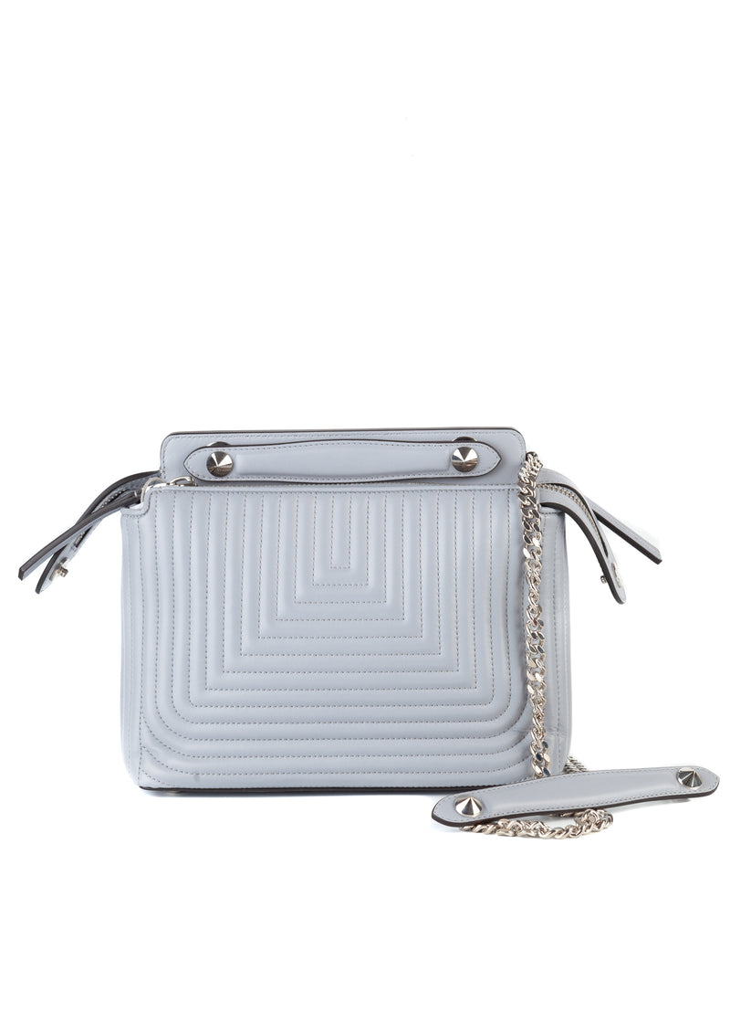 Fendi Womens Silver DotCom Click Small Quilted Leather Chain Satchel Bag - ACCESSX