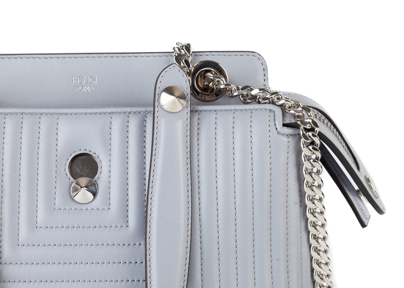 Fendi Women Silver DotCom Click Small Quilted Leather Chain Satchel Bag - Tribeca Fashion House