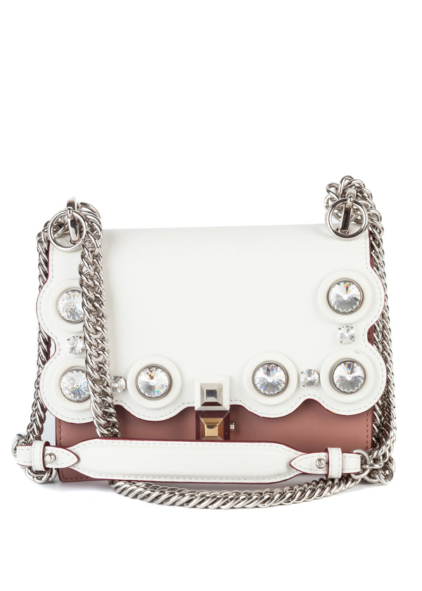 Fendi White, Pink Studded Purse Silver Chain Strap - Tribeca Fashion House