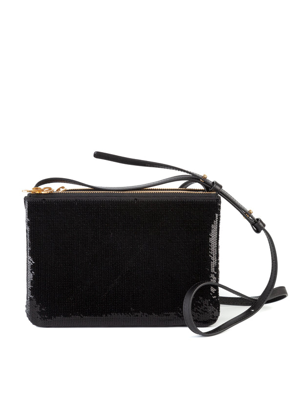 Celine Womens Black Sequin Small Trio Cross Body Bag - Tribeca Fashion House