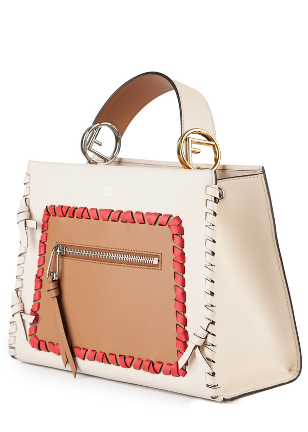 Fendi Womens White, Red, Tan Woven Design Handbag - Tribeca Fashion House