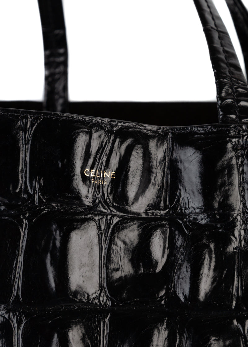 Celine Womens Black Crocodile Embossed Calfskin Leather Tote - ACCESSX