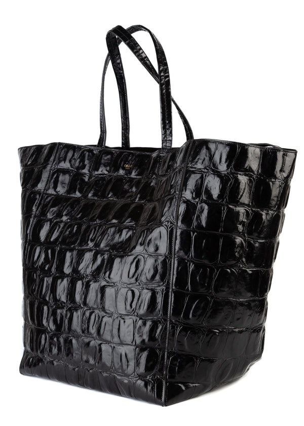 Celine Womens Black Crocodile Embossed Calfskin Leather Tote Bag - Tribeca Fashion House