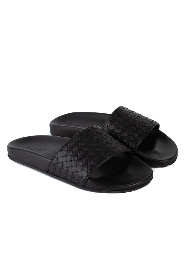 Bottega Veneta Womens Black Woven Intrecciato Leather Slippers RTL$560 - Tribeca Fashion House