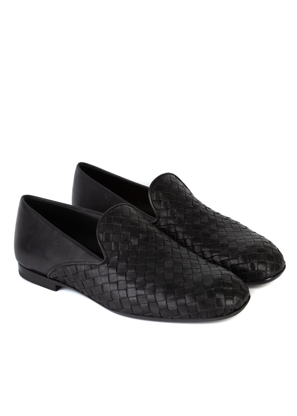 Bottega Veneta Mens Fiandra Intrecciato Calf Leather Loafers - Tribeca Fashion House