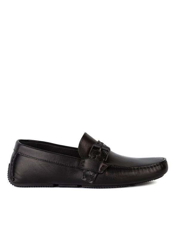 Bottega Veneta Womens Black Intrecciato Woven Leather Belt Loafers - Tribeca Fashion House