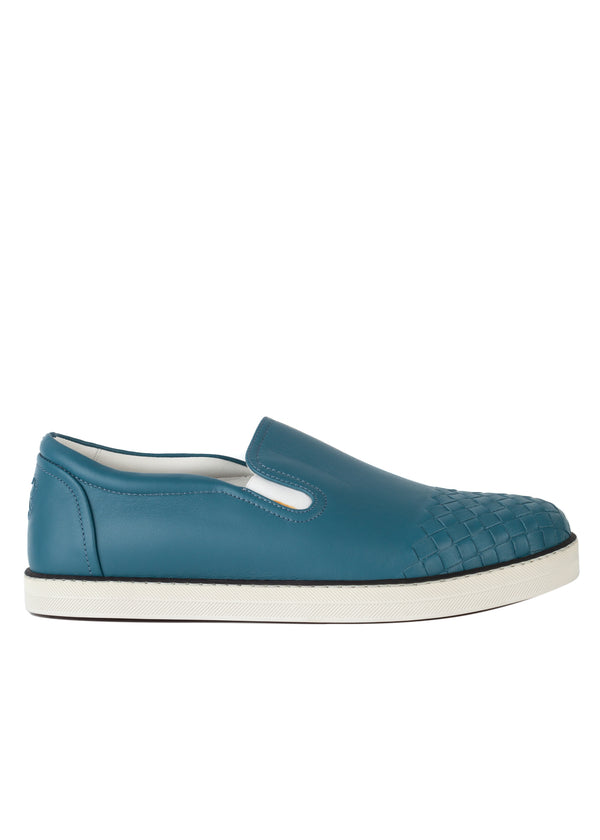 Bottega Veneta Mens Blue Leather Sail Sneaker - Tribeca Fashion House