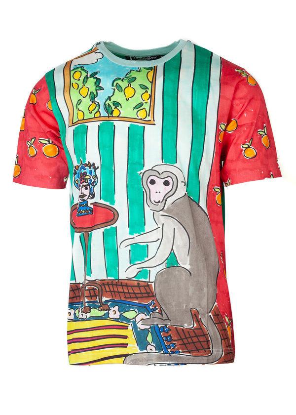 Dolce & Gabbana Mens Multicolored Monkey Drawing Print T-Shirt - ACCESSX