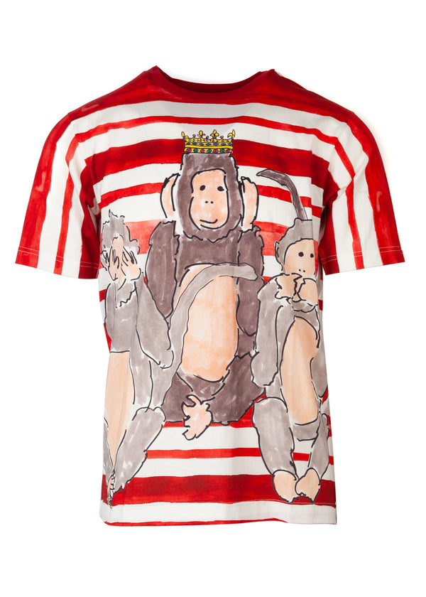Dolce & Gabbana Mens Multicolored Monkeys Drawing Print T-Shirt - ACCESSX