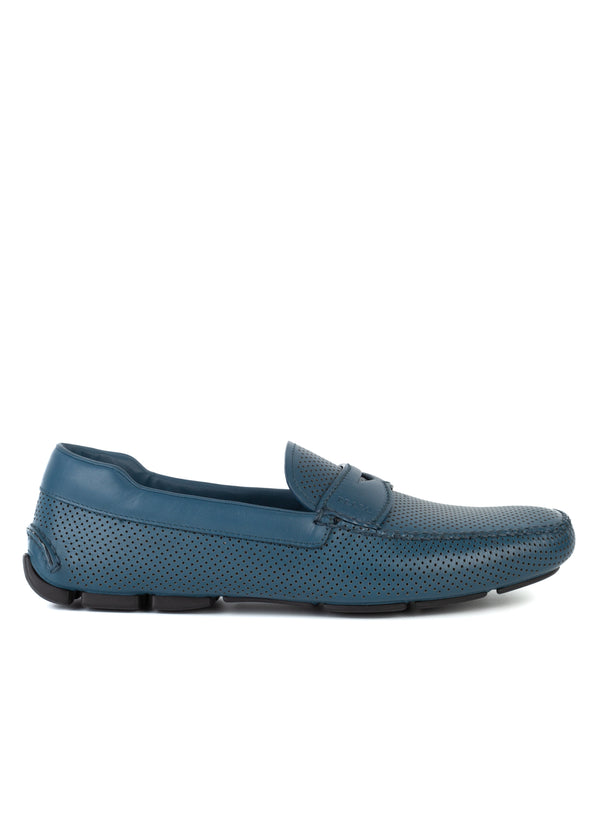 Prada Mens Light Blue Leather Perforated Textured Loafers - Tribeca Fashion House