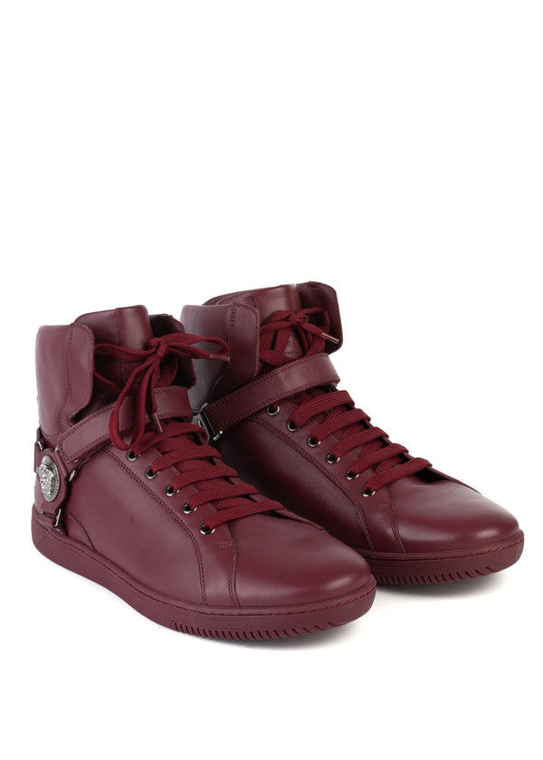 Versace Mens Red Leather Belted Medusa Logo High-Top Sneakers - Tribeca Fashion House