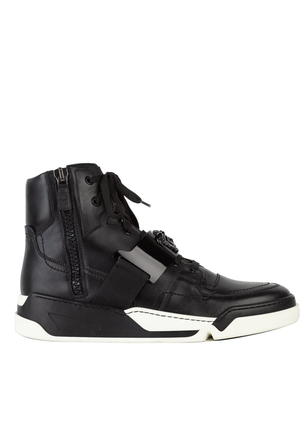 Versace Mens Black Trademark Hardware High-Top Leather Sneakers - Tribeca Fashion House