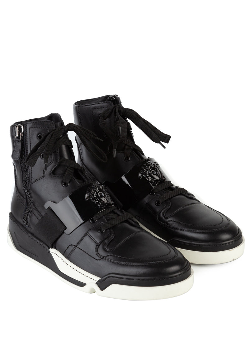 Versace Mens Black Trademark Hardware High-Top Leather Sneakers - ACCESSX