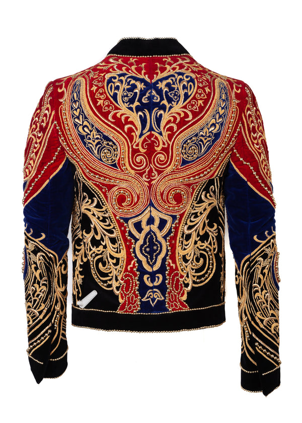 Balmain Mens Red & Blue Velvet Gold Pearl Embellishment Jacket - Tribeca Fashion House