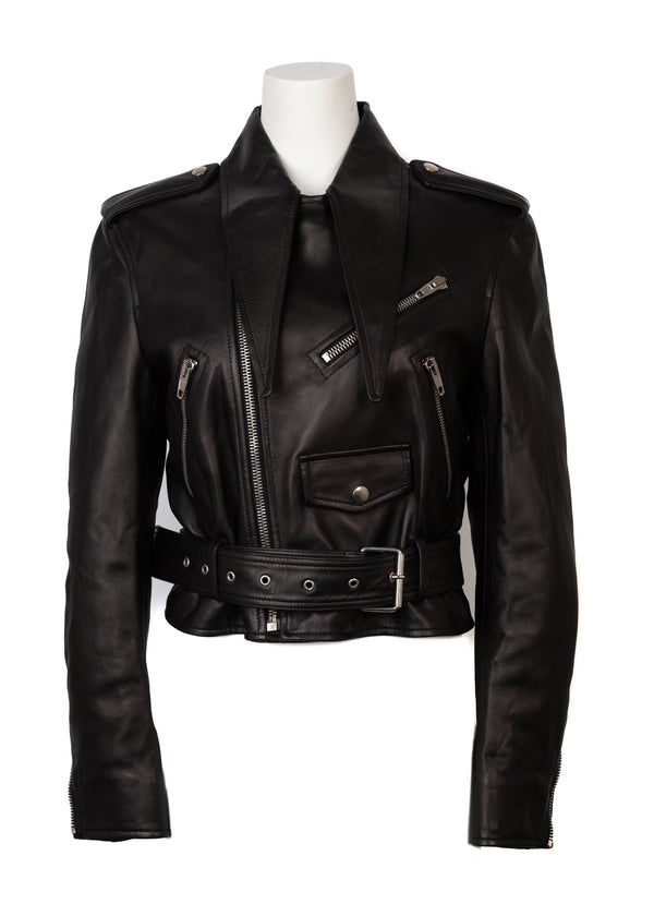 Balenciaga Womens Black Leather Belted Jacket - Tribeca Fashion House