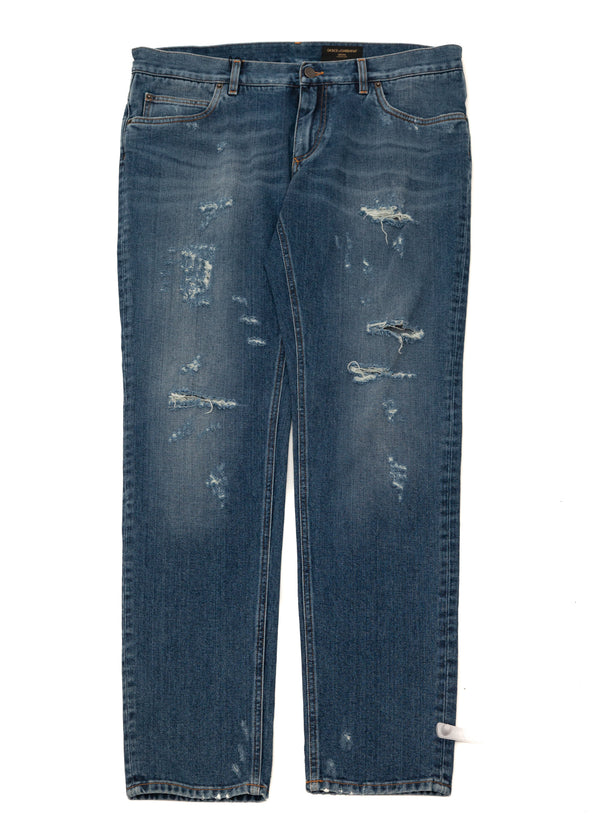 Dolce & Gabbana Mens Blue Denim Classic Fit Jeans - Tribeca Fashion House