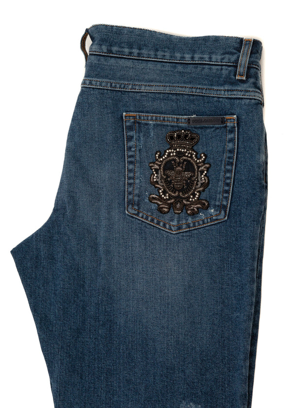 Dolce & Gabbana Mens Blue Denim Classic Fit Jeans - ACCESSX