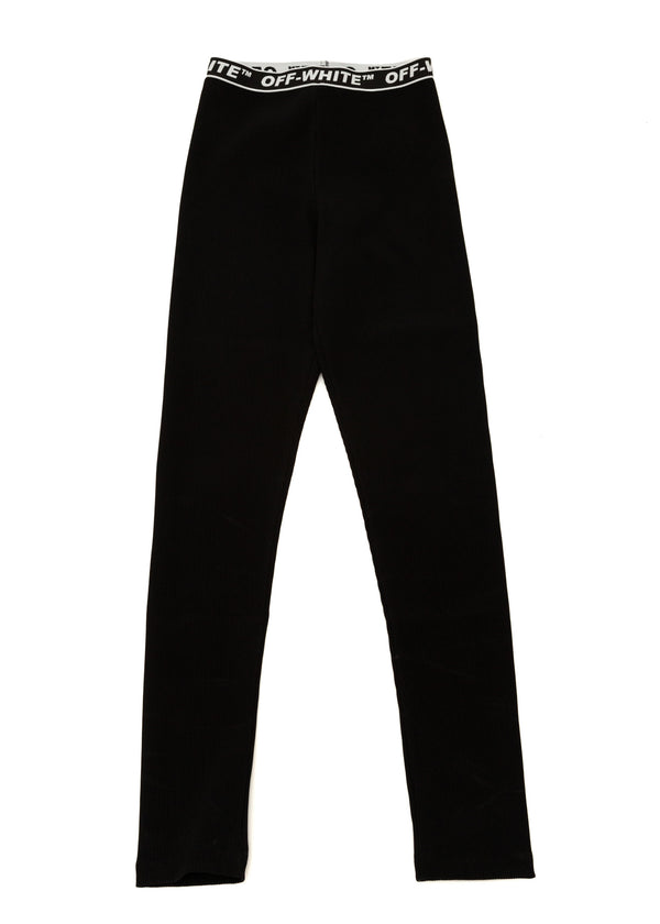 Off-White Womens Black Logo Ribbed Sports Leggings - ACCESSX