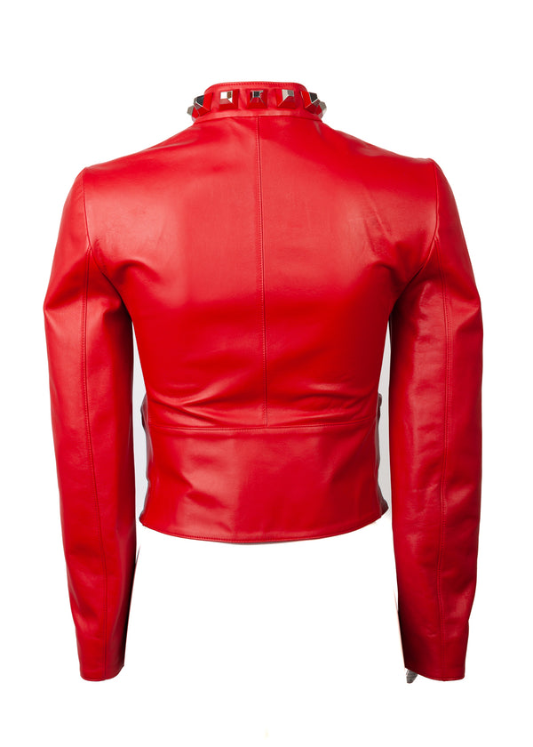 Fendi Womens Red Maxi Studs Leather Crop Biker Jacket - Tribeca Fashion House