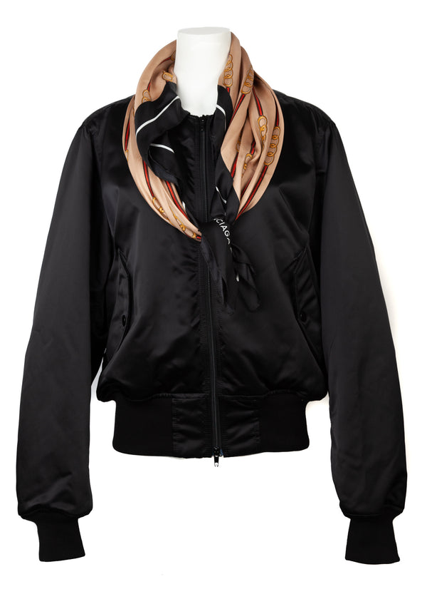 Balenciaga Womens Black Scarf Bomber - Tribeca Fashion House
