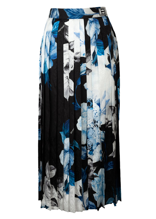 Off White Womens Black Floral Print Silk Pleated Skirt - Tribeca Fashion House