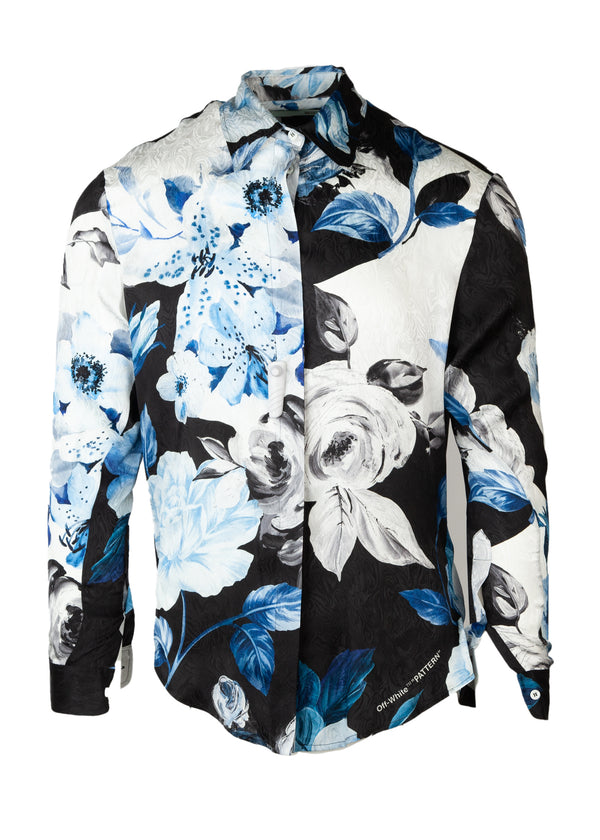 Off-White Womens Black Floral Print Silk Shirt - ACCESSX