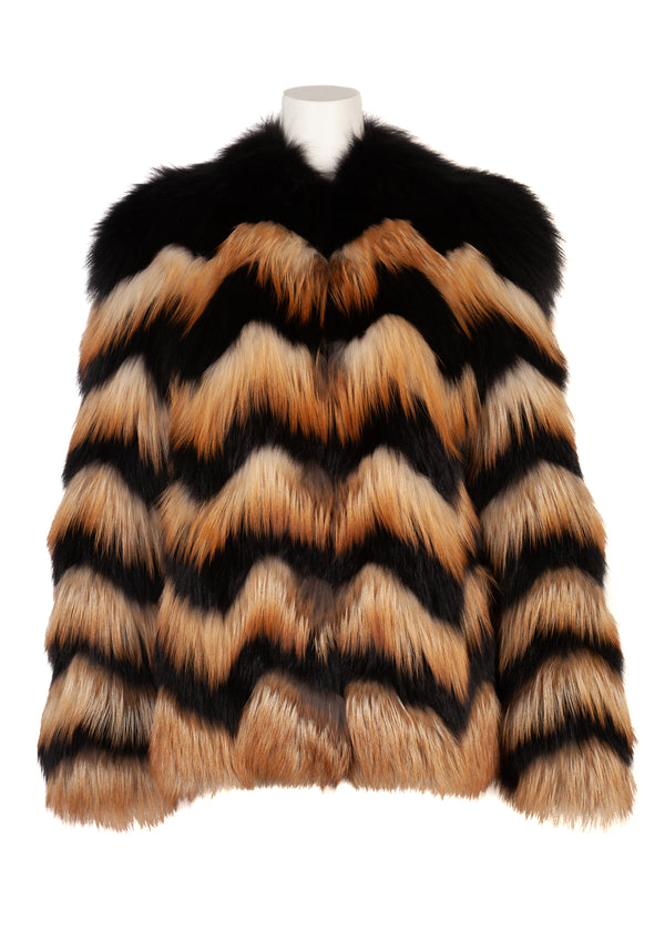 Lanvin Womens Chevron Zig Zag Fox Fur Coat - Tribeca Fashion House