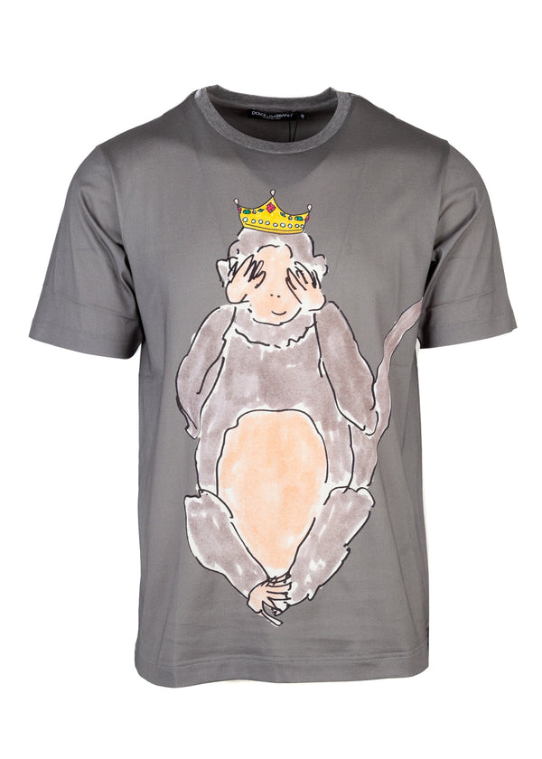 Dolce & Gabbana Mens See No Evil Monkey Short Sleeve Tee - Tribeca Fashion House