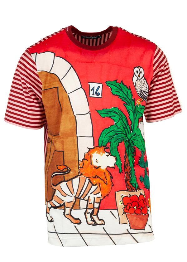 Dolce & Gabbana Mens Multicolored Lion Short Sleeve Tee - ACCESSX