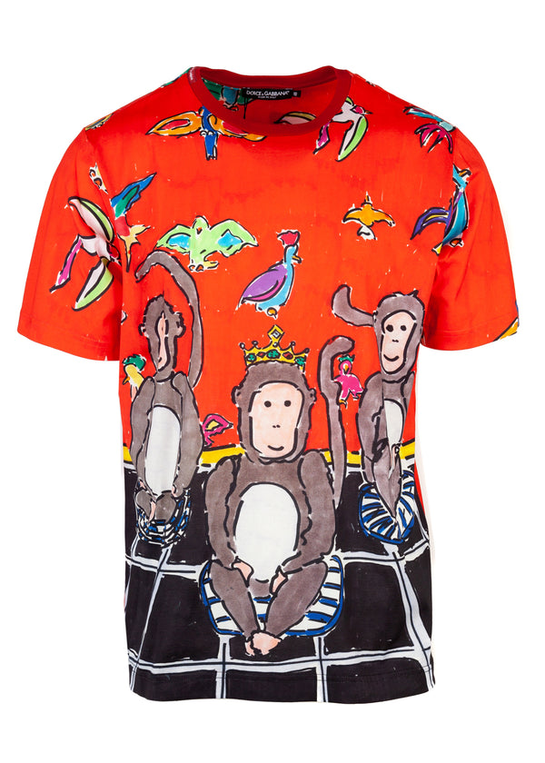 Dolce & Gabbana Mens Multicolored Monkey Short Sleeve Tee - ACCESSX