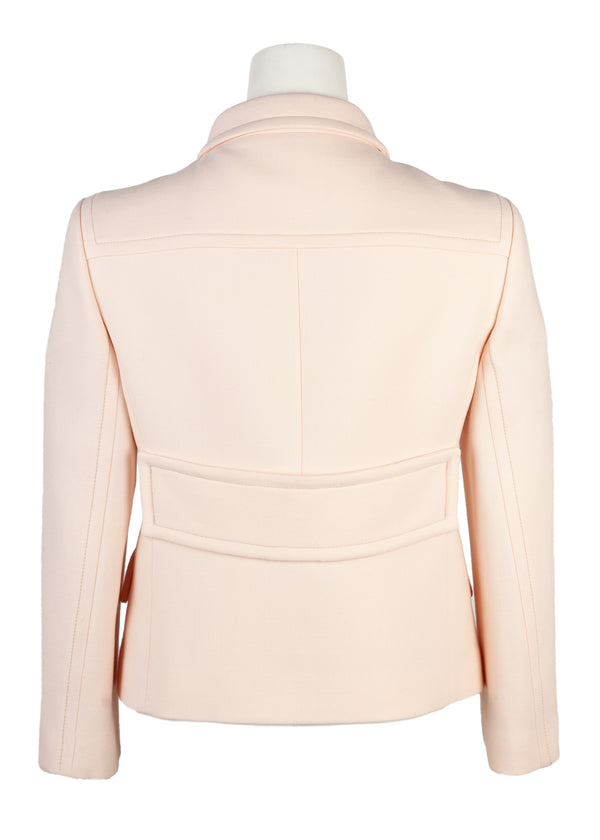 Bottega Veneta Womens Light Pink Short Wool Jacket - Tribeca Fashion House