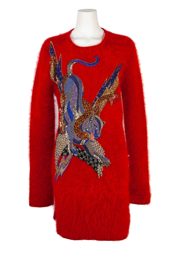 Balmain Womens Red Appliquéd Wool Sweater Dress - ACCESSX